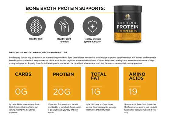 Bone Broth Protein Tumeric for PEMF therapy nutrition